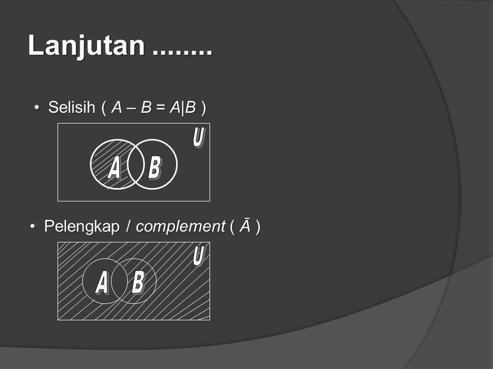 Lanjutan........ Selisih ( A – B = A|B )Selisih ( A – B = A|B ) Pelengkap / complement ( Ā )Pelengkap / complement ( Ā )