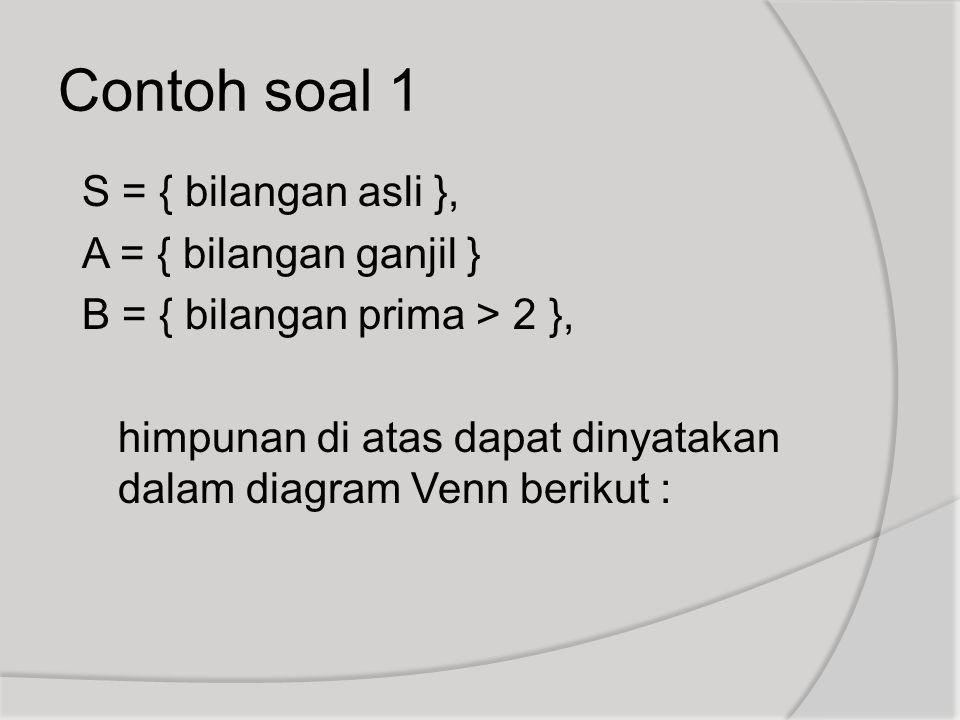S = { bilangan asli }, A = { bilangan ganjil } B = { bilangan prima > 2 }, himpunan di atas dapat dinyatakan dalam diagram Venn berikut : Contoh soal
