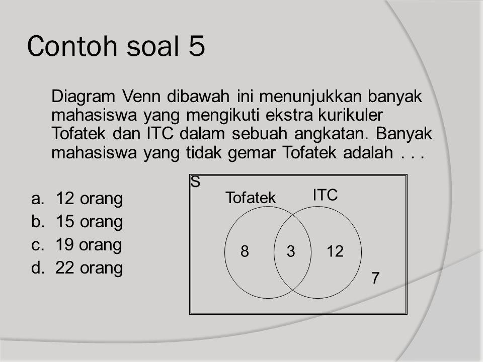 Contoh soal 5 Diagram Venn dibawah ini menunjukkan banyak mahasiswa yang mengikuti ekstra kurikuler Tofatek dan ITC dalam sebuah angkatan. Banyak maha