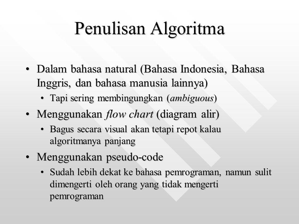 Penulisan Algoritma Dalam bahasa natural (Bahasa Indonesia, Bahasa Inggris, dan bahasa manusia lainnya)Dalam bahasa natural (Bahasa Indonesia, Bahasa