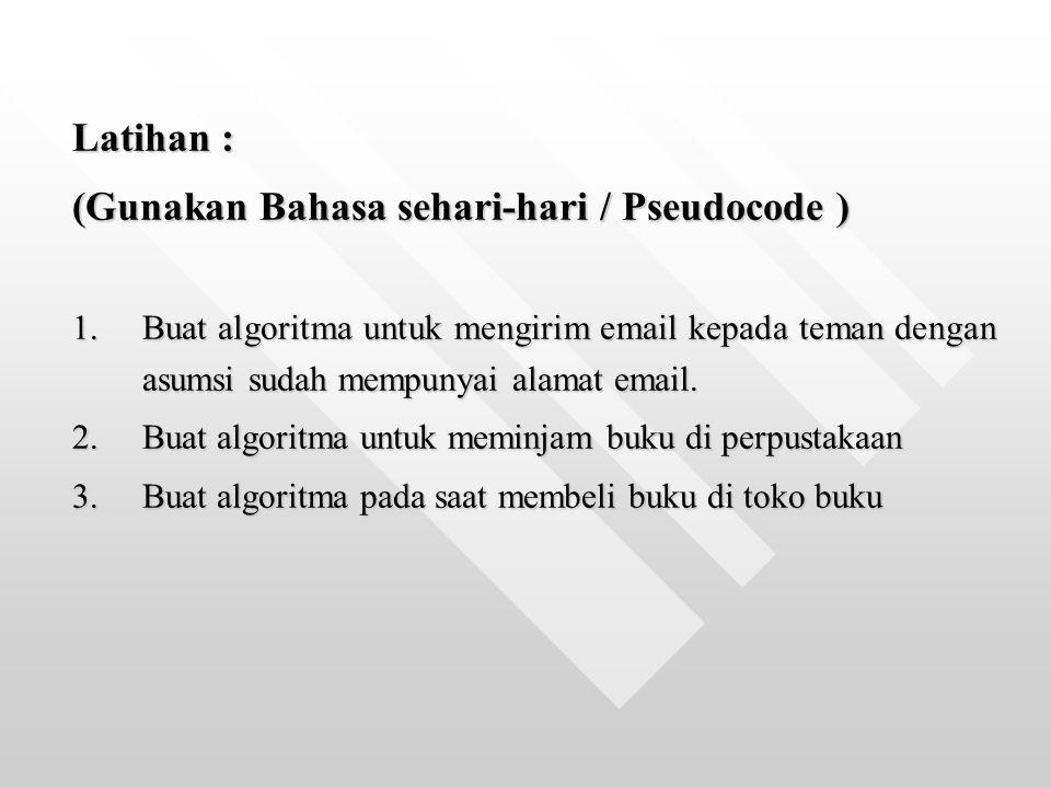 Latihan : (Gunakan Bahasa sehari-hari / Pseudocode ) 1.Buat algoritma untuk mengirim email kepada teman dengan asumsi sudah mempunyai alamat email. 2.
