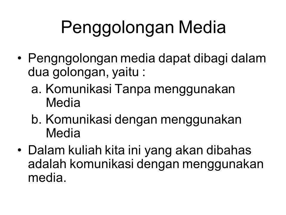 Penggolongan Media Pengngolongan media dapat dibagi dalam dua golongan, yaitu : a. Komunikasi Tanpa menggunakan Media b. Komunikasi dengan menggunakan