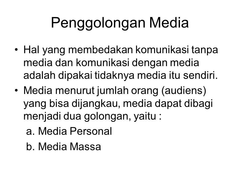 Penggolongan Media Hal yang membedakan komunikasi tanpa media dan komunikasi dengan media adalah dipakai tidaknya media itu sendiri. Media menurut jum