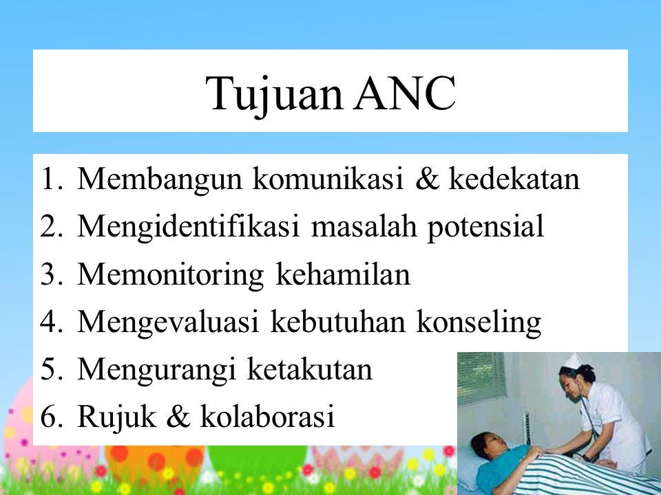 Tujuan ANC 1. Membangun komunikasi & kedekatan 2. Mengidentifikasi masalah potensial 3. Memonitoring kehamilan 4. Mengevaluasi kebutuhan konseling 5.