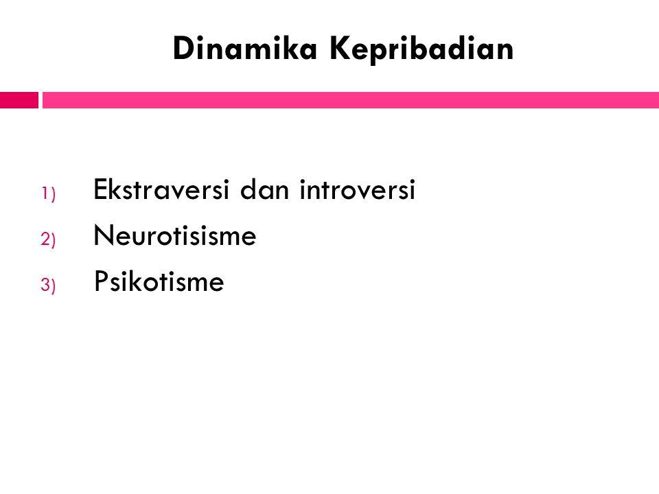 Dinamika Kepribadian 1) Ekstraversi dan introversi 2) Neurotisisme 3) Psikotisme