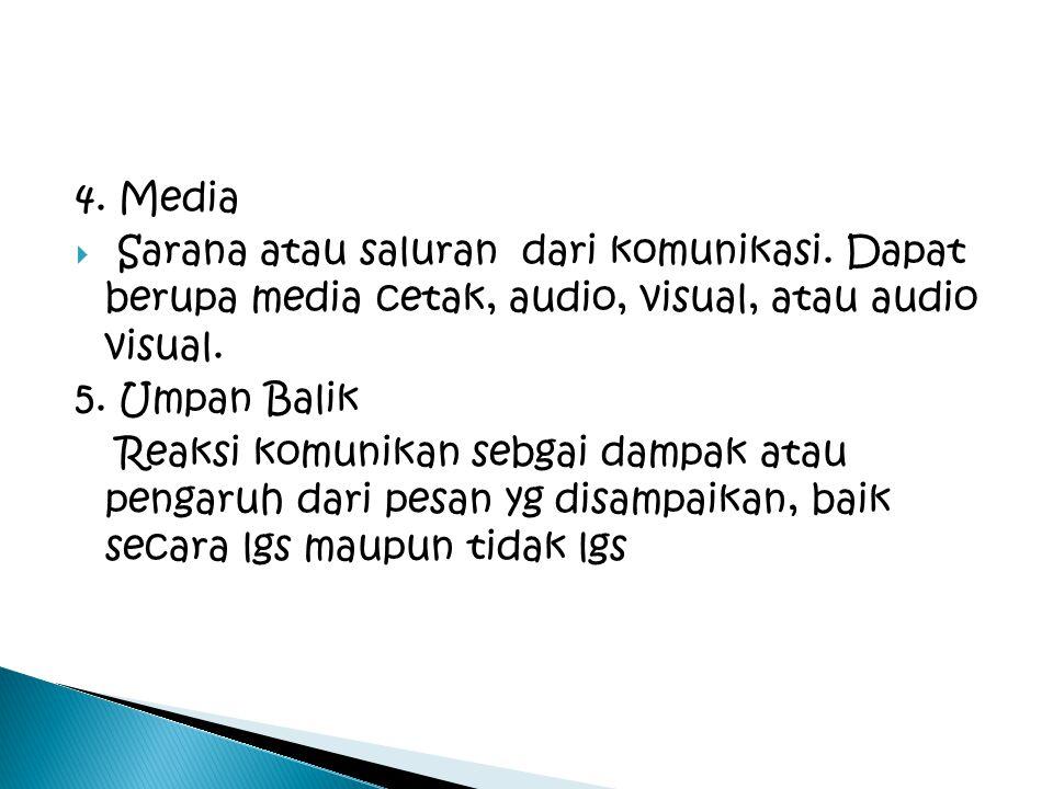 4. Media  Sarana atau saluran dari komunikasi. Dapat berupa media cetak, audio, visual, atau audio visual. 5. Umpan Balik Reaksi komunikan sebgai dam