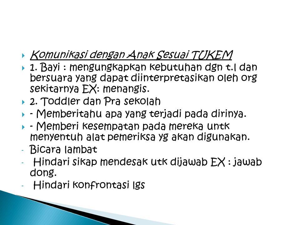  Komunikasi dengan Anak Sesuai TUKEM  1. Bayi : mengungkapkan kebutuhan dgn t.l dan bersuara yang dapat diinterpretasikan oleh org sekitarnya EX: me