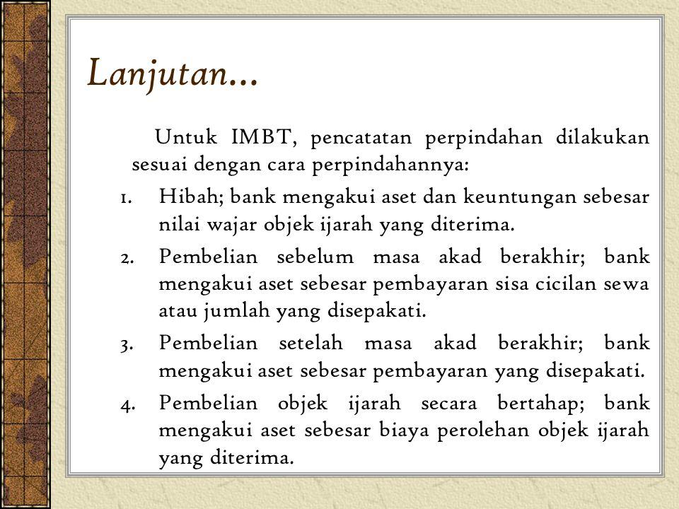 Lanjutan... Untuk IMBT, pencatatan perpindahan dilakukan sesuai dengan cara perpindahannya: 1.Hibah; bank mengakui aset dan keuntungan sebesar nilai w