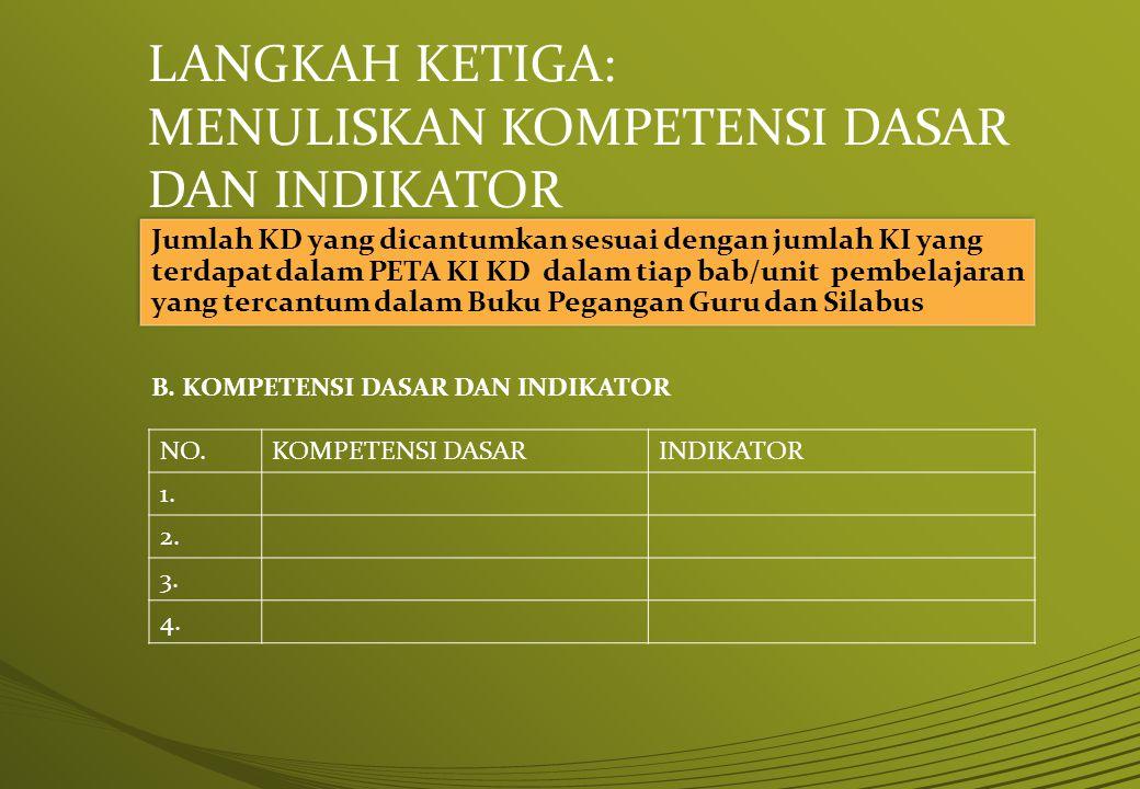 LANGKAH KETIGA: MENULISKAN KOMPETENSI DASAR DAN INDIKATOR Jumlah KD yang dicantumkan sesuai dengan jumlah KI yang terdapat dalam PETA KI KD dalam tiap
