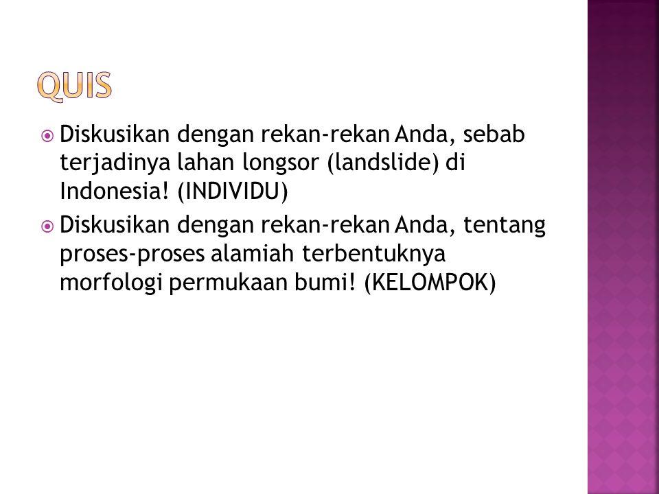  Diskusikan dengan rekan-rekan Anda, sebab terjadinya lahan longsor (landslide) di Indonesia! (INDIVIDU)  Diskusikan dengan rekan-rekan Anda, tentan