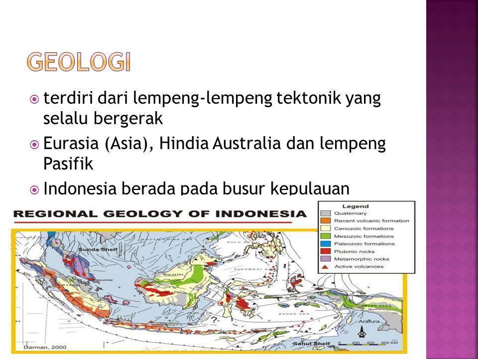  terdiri dari lempeng-lempeng tektonik yang selalu bergerak  Eurasia (Asia), Hindia Australia dan lempeng Pasifik  Indonesia berada pada busur kepu