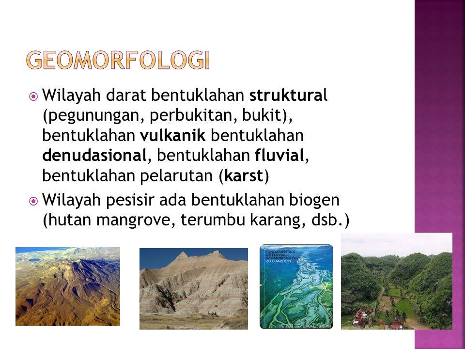 Wilayah darat bentuklahan struktural (pegunungan, perbukitan, bukit), bentuklahan vulkanik bentuklahan denudasional, bentuklahan fluvial, bentuklaha