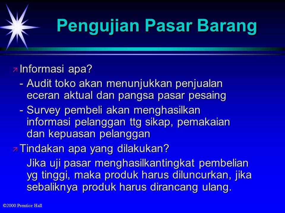©2000 Prentice Hall Pengujian Pasar Barang ä Informasi apa.