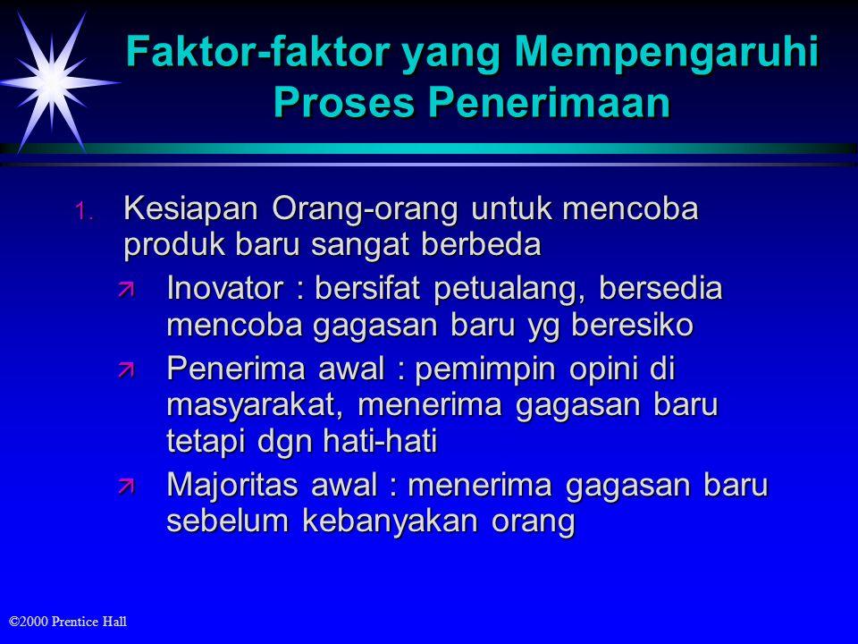 ©2000 Prentice Hall Faktor-faktor yang Mempengaruhi Proses Penerimaan 1.