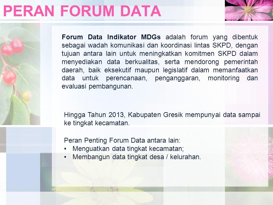 PERAN FORUM DATA Forum Data Indikator MDGs adalah forum yang dibentuk sebagai wadah komunikasi dan koordinasi lintas SKPD, dengan tujuan antara lain u