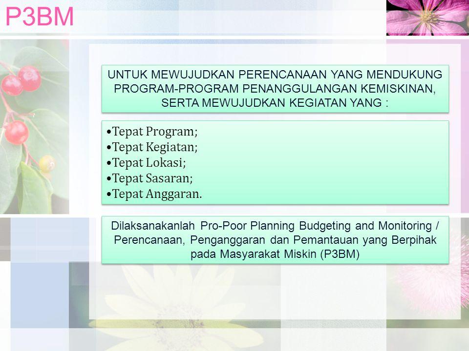P3BM UNTUK MEWUJUDKAN PERENCANAAN YANG MENDUKUNG PROGRAM-PROGRAM PENANGGULANGAN KEMISKINAN, SERTA MEWUJUDKAN KEGIATAN YANG : Tepat Program; Tepat Kegi