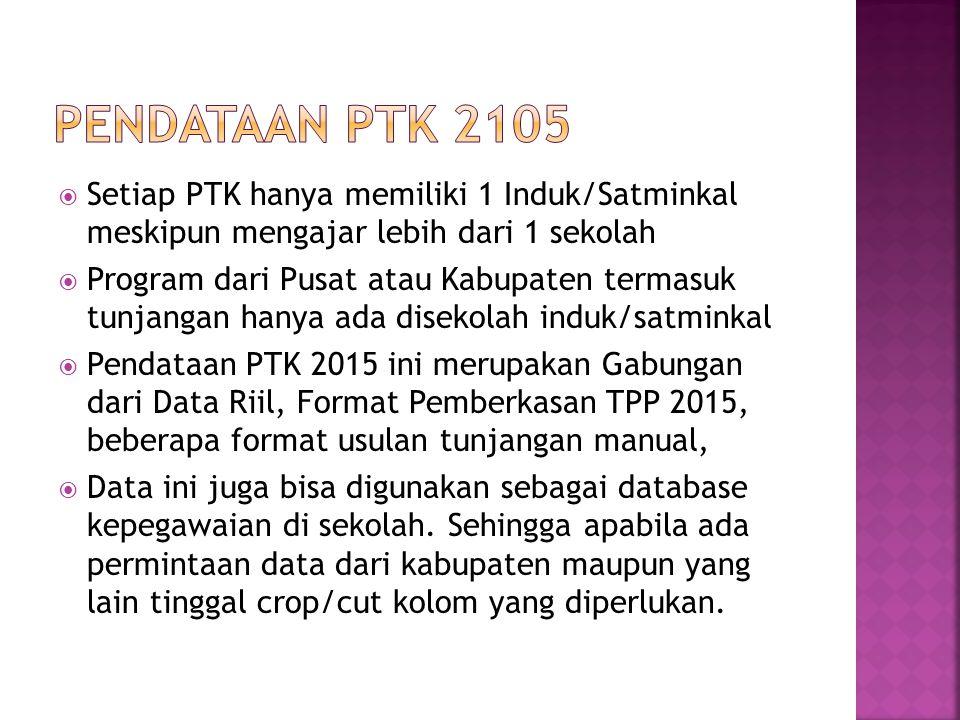  Setiap PTK hanya memiliki 1 Induk/Satminkal meskipun mengajar lebih dari 1 sekolah  Program dari Pusat atau Kabupaten termasuk tunjangan hanya ada