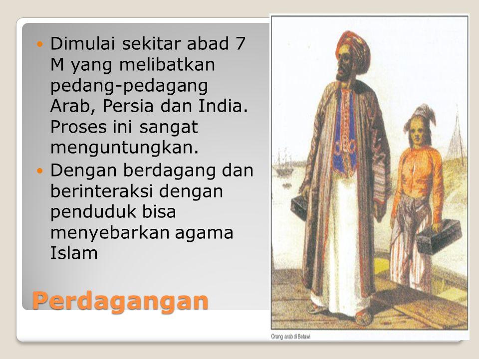 Perdagangan Dimulai sekitar abad 7 M yang melibatkan pedang-pedagang Arab, Persia dan India.