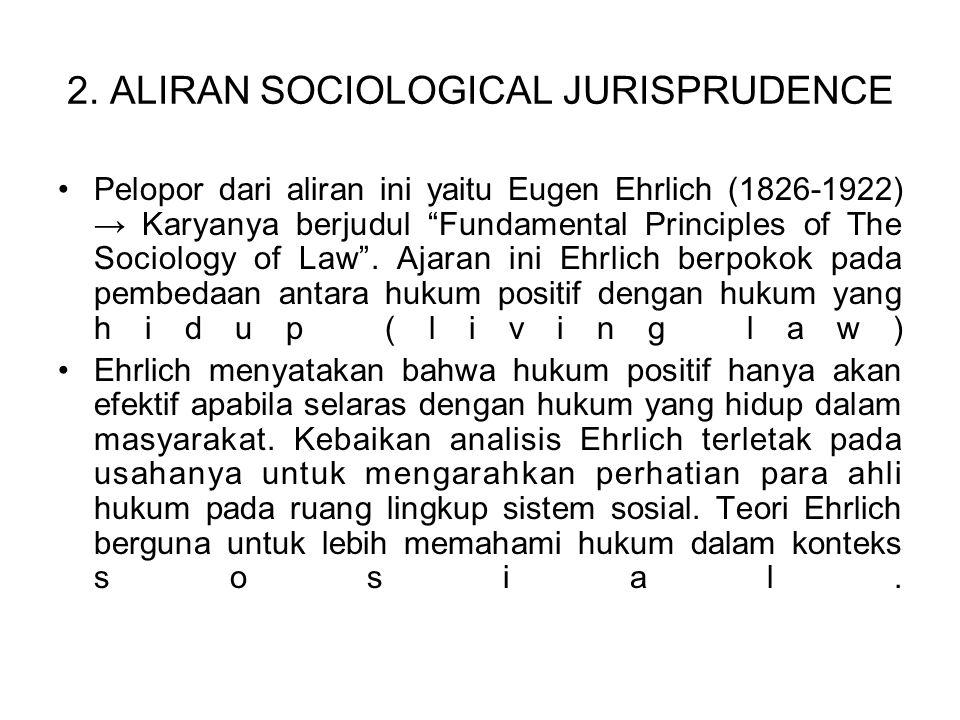 """2. ALIRAN SOCIOLOGICAL JURISPRUDENCE Pelopor dari aliran ini yaitu Eugen Ehrlich (1826-1922) → Karyanya berjudul """"Fundamental Principles of The Sociol"""