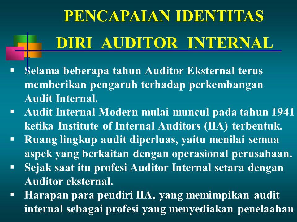 PENCAPAIAN IDENTITAS  Selama beberapa tahun Auditor Eksternal terus memberikan pengaruh terhadap perkembangan Audit Internal.  Audit Internal Modern
