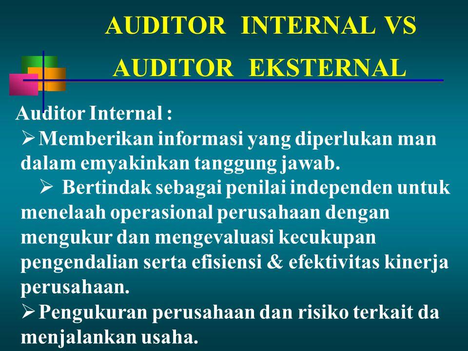 AUDITORINTERNAL VS Auditor Internal :  Memberikan informasi yang diperlukan man dalam emyakinkan tanggung jawab.  Bertindak sebagai penilai independ