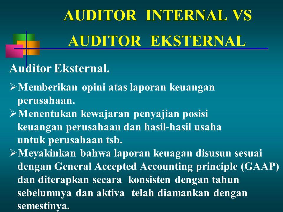 AUDITORINTERNAL VS Auditor Eksternal.  Memberikan opini atas laporan keuangan perusahaan.  Menentukan kewajaran penyajian posisi keuangan perusahaan