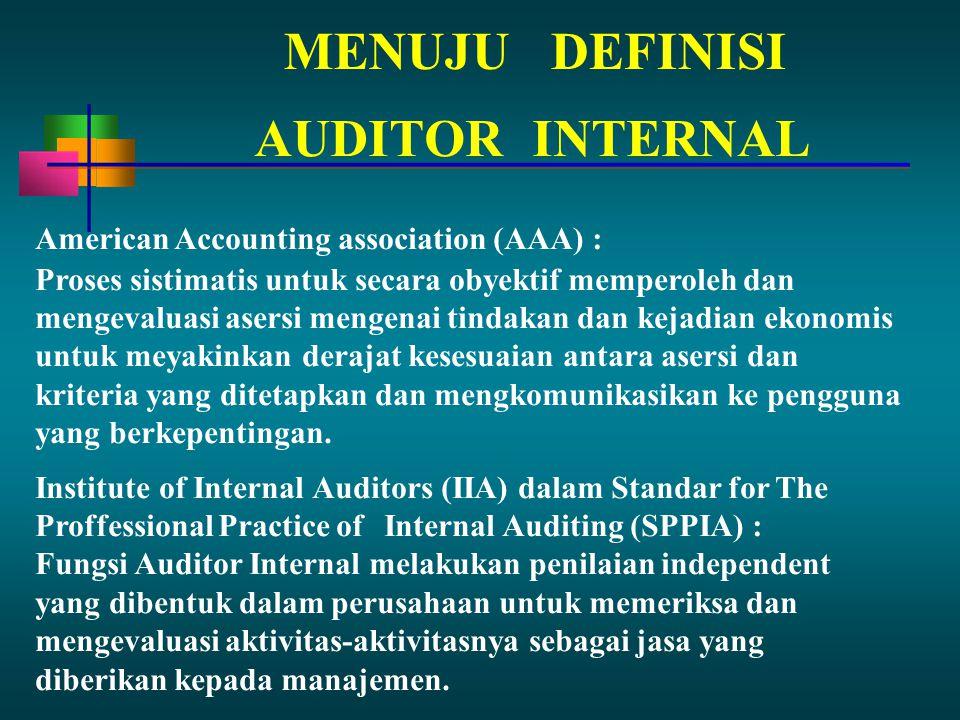 MENUJUDEFINISI American Accounting association (AAA) : Proses sistimatis untuk secara obyektif memperoleh dan mengevaluasi asersi mengenai tindakan dan kejadian ekonomis untuk meyakinkan derajat kesesuaian antara asersi dan kriteria yang ditetapkan dan mengkomunikasikan ke pengguna yang berkepentingan.