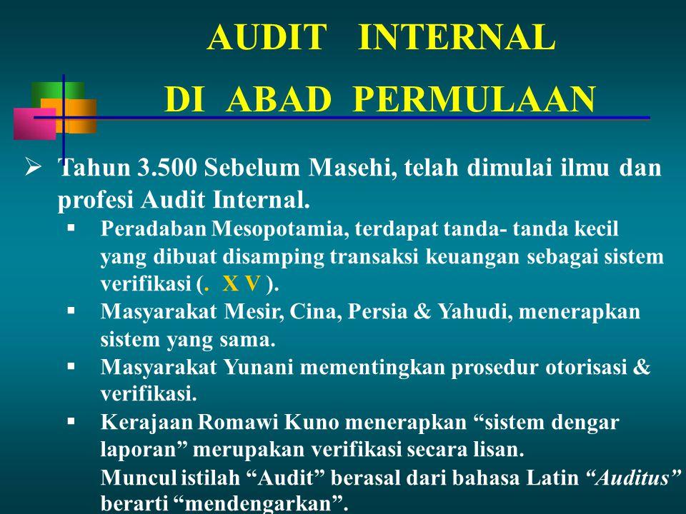 AUDITINTERNAL  Tahun 3.500 Sebelum Masehi, telah dimulai ilmu dan profesi Audit Internal.
