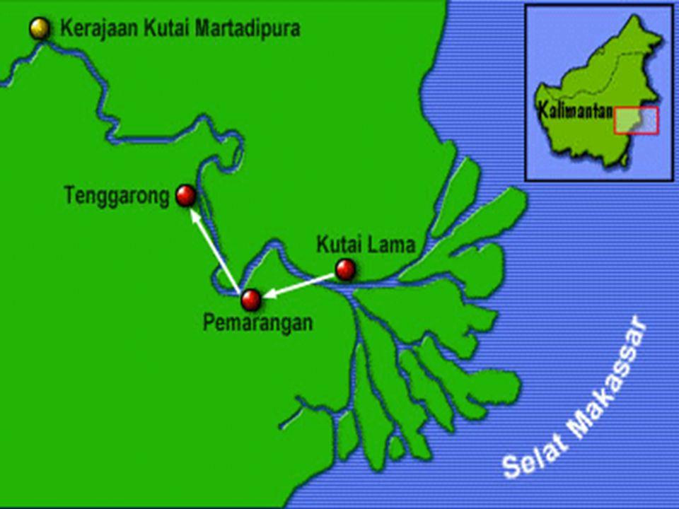 1. Kutai  Tahun : 400 M  Letak : DI Kalimantan Timur, Di tepi Sungai Mahakam  Sumber Sejarah : Ditemukan prasasti Yupa  Nama Raja : Kudungga Aswaw