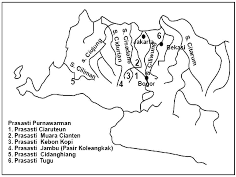 2. Tarumanegara Tahun : 450 M Letak : Di Jawa Barat, Di tepi Sungai Citarum Sumber Sejarah : Berita dari Fa-Hien Ditemukan 7 buah prasasti Nama Raja :