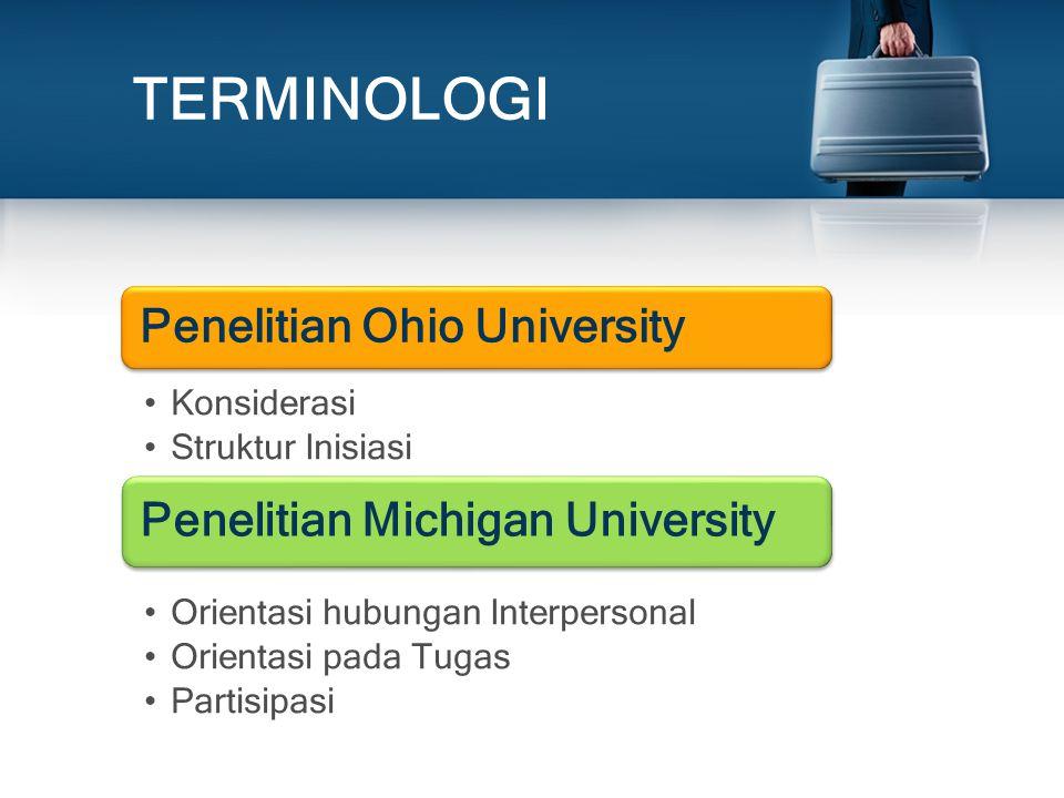 TERMINOLOGI Penelitian Ohio University Konsiderasi Struktur Inisiasi Penelitian Michigan University Orientasi hubungan Interpersonal Orientasi pada Tu