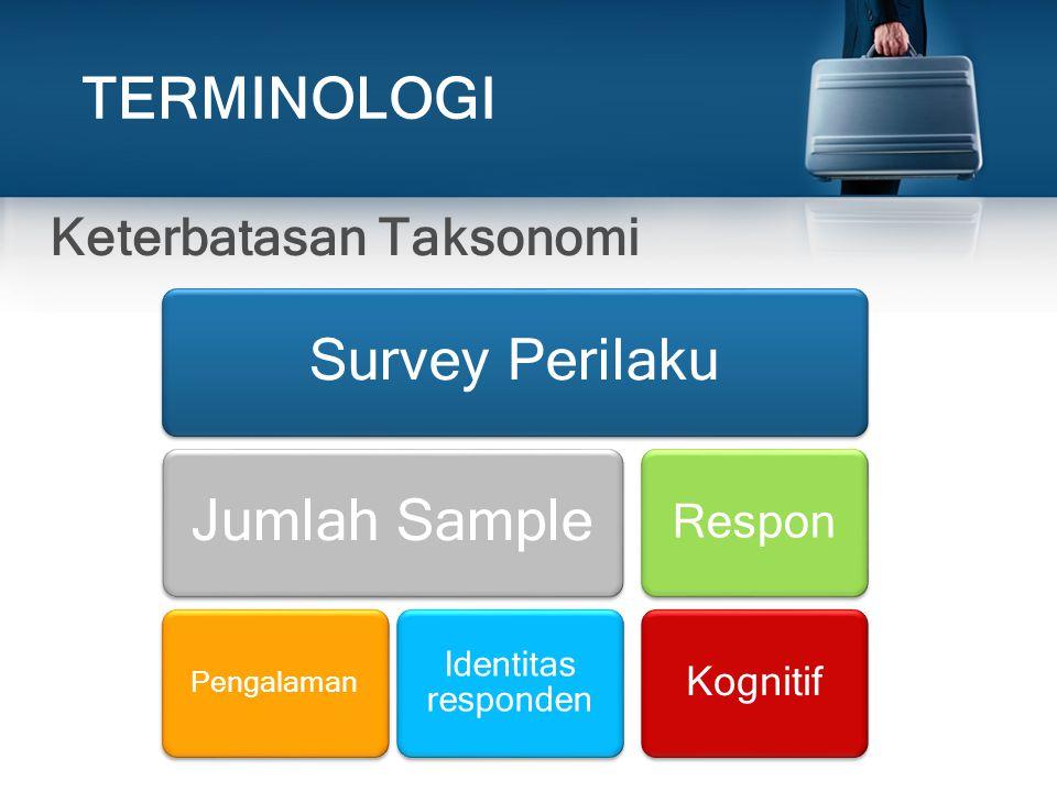 TERMINOLOGI Taksonomi Sumber Keragaman Keterbatasan Taksonomi 3 dimensi Keterbatasan Taksonomi Survey PerilakuJumlah Sample Pengalaman Identitas respo
