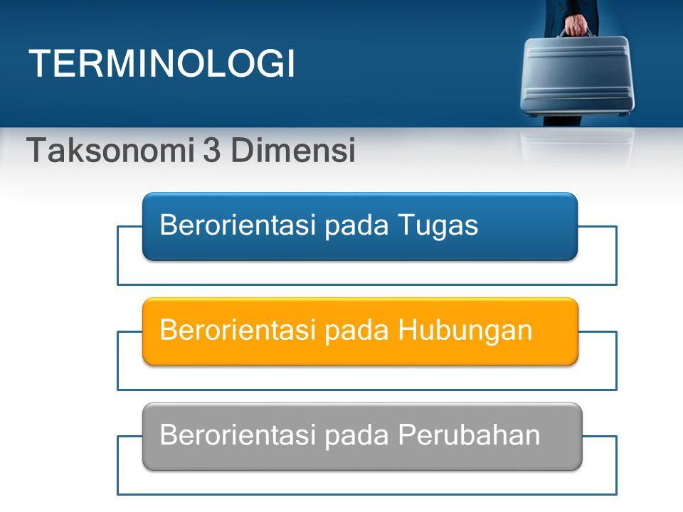 TERMINOLOGI Taksonomi 3 Dimensi Berorientasi pada TugasBerorientasi pada HubunganBerorientasi pada Perubahan