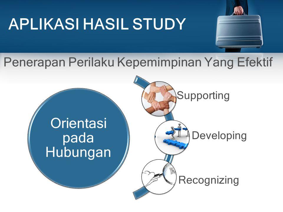 APLIKASI HASIL STUDY Orientasi pada Hubungan Supporting Developing Recognizing Penerapan Perilaku Kepemimpinan Yang Efektif