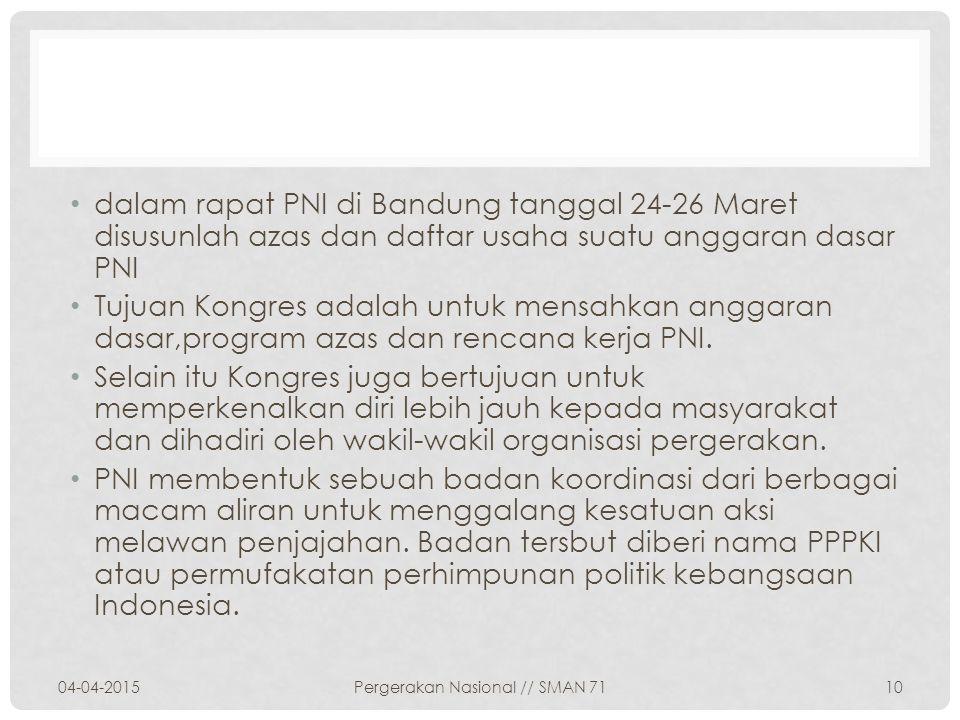 dalam rapat PNI di Bandung tanggal 24-26 Maret disusunlah azas dan daftar usaha suatu anggaran dasar PNI Tujuan Kongres adalah untuk mensahkan anggara