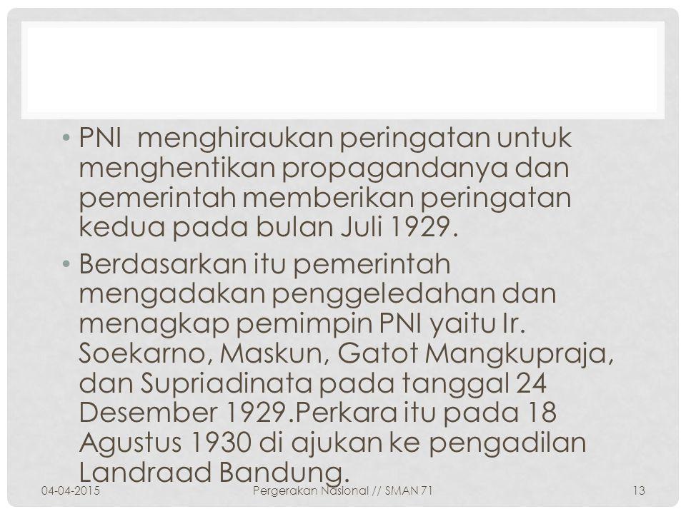 Dan hasil keputusan Landraad di Bandung yakni menghukum Ir.