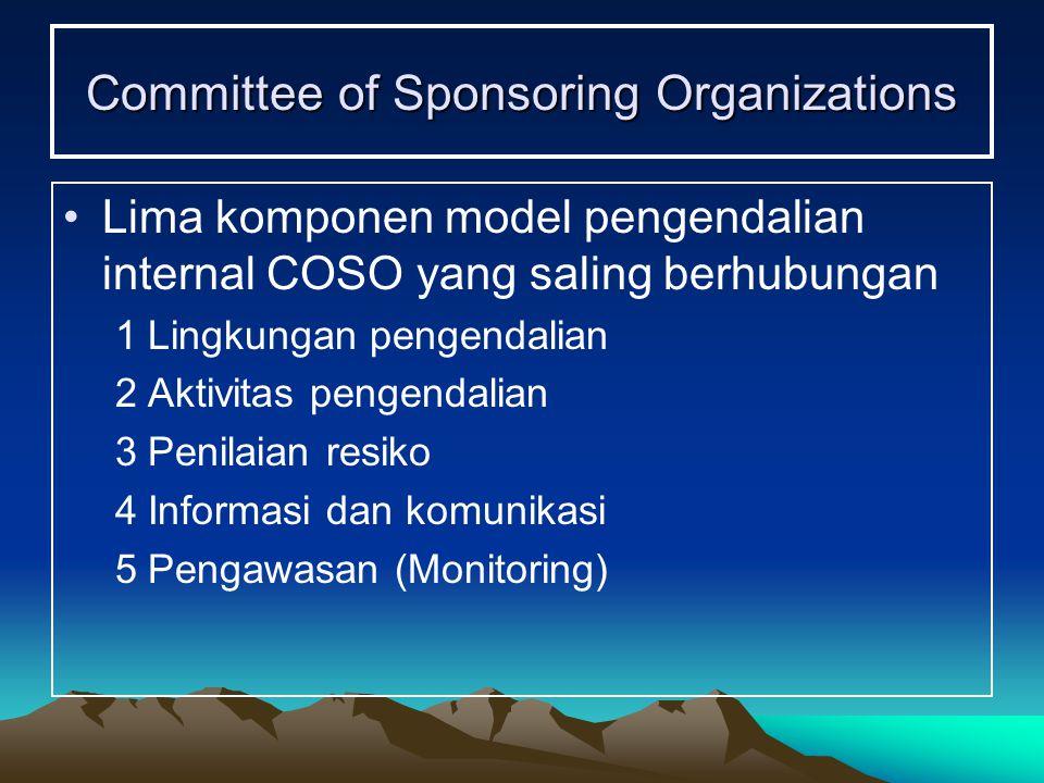 Committee of Sponsoring Organizations Lima komponen model pengendalian internal COSO yang saling berhubungan 1Lingkungan pengendalian 2Aktivitas penge