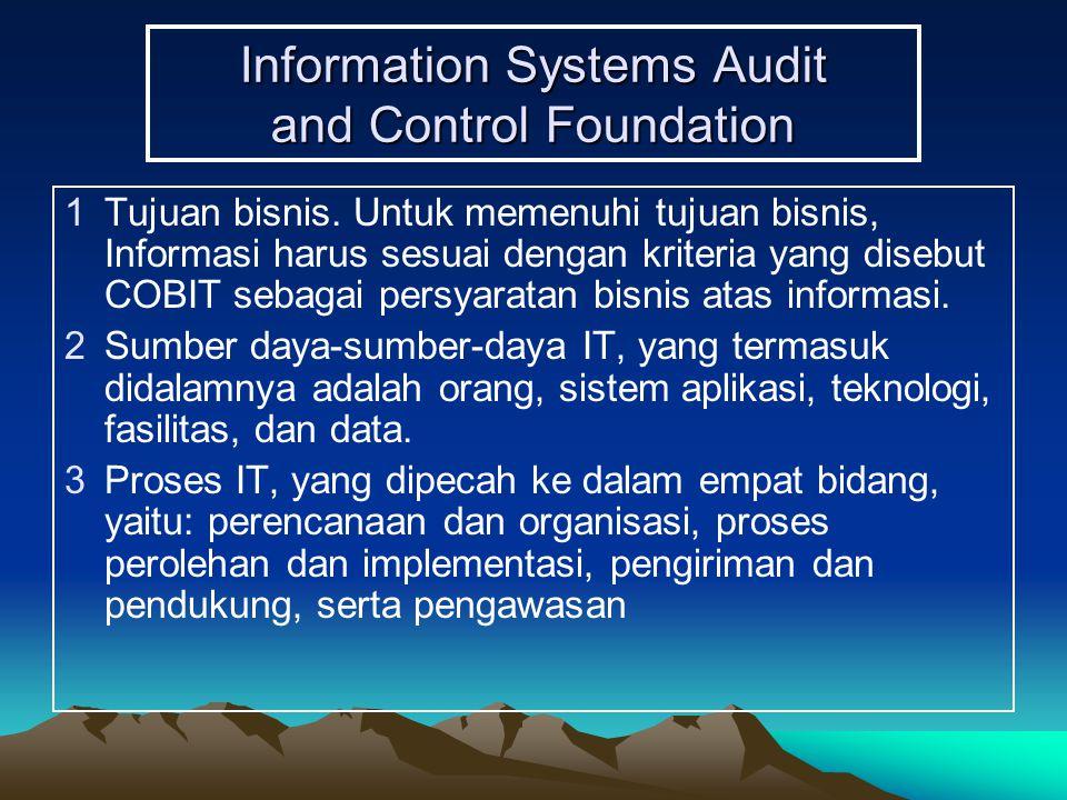 Information Systems Audit and Control Foundation 1Tujuan bisnis. Untuk memenuhi tujuan bisnis, Informasi harus sesuai dengan kriteria yang disebut COB