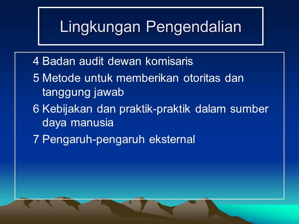 Lingkungan Pengendalian 4Badan audit dewan komisaris 5Metode untuk memberikan otoritas dan tanggung jawab 6Kebijakan dan praktik-praktik dalam sumber