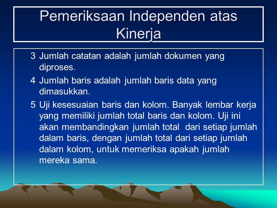 Pemeriksaan Independen atas Kinerja 3Jumlah catatan adalah jumlah dokumen yang diproses. 4Jumlah baris adalah jumlah baris data yang dimasukkan. 5Uji