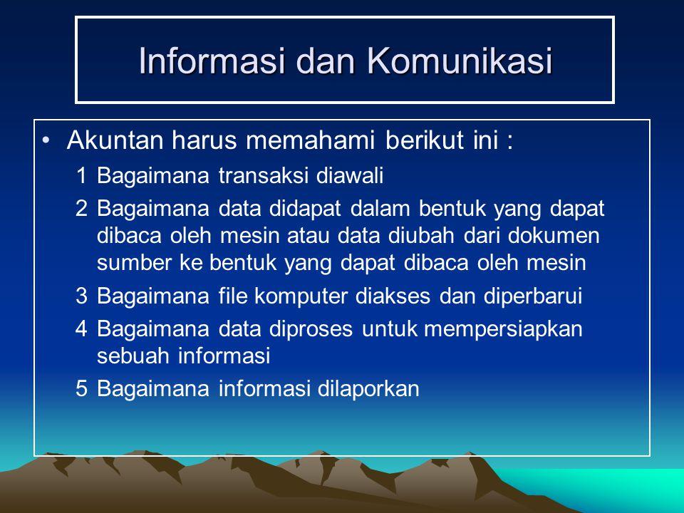 Informasi dan Komunikasi Akuntan harus memahami berikut ini : 1Bagaimana transaksi diawali 2Bagaimana data didapat dalam bentuk yang dapat dibaca oleh