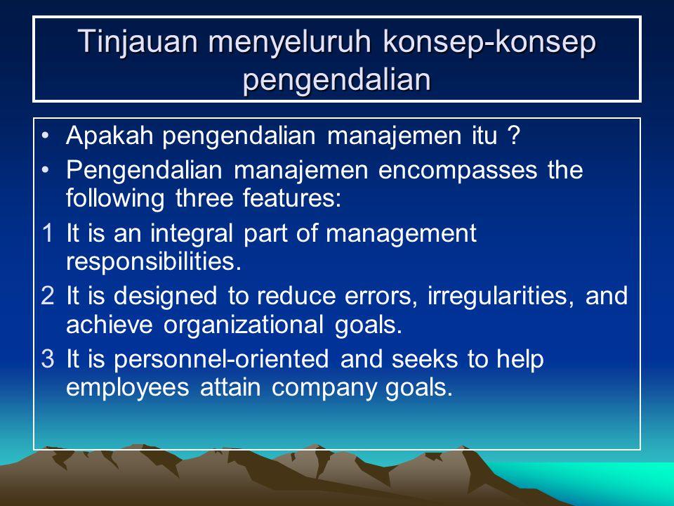 Lingkungan Pengendalian 4Badan audit dewan komisaris 5Metode untuk memberikan otoritas dan tanggung jawab 6Kebijakan dan praktik-praktik dalam sumber daya manusia 7Pengaruh-pengaruh eksternal