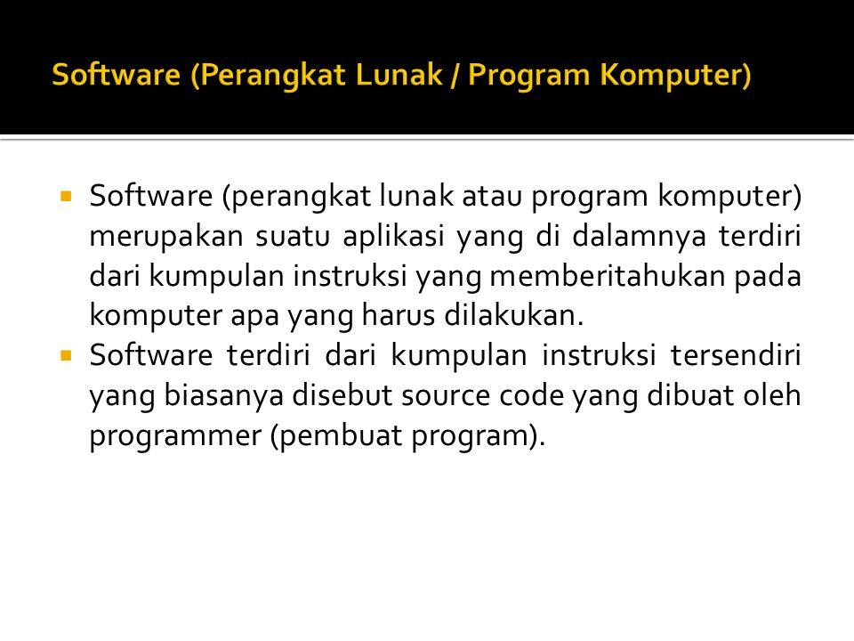  Software (perangkat lunak atau program komputer) merupakan suatu aplikasi yang di dalamnya terdiri dari kumpulan instruksi yang memberitahukan pada