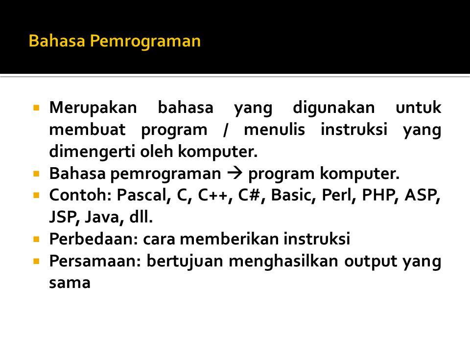  Merupakan bahasa yang digunakan untuk membuat program / menulis instruksi yang dimengerti oleh komputer.  Bahasa pemrograman  program komputer. 