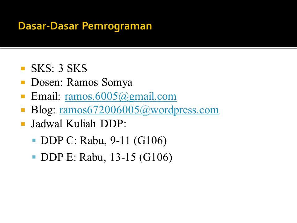  SKS: 3 SKS  Dosen: Ramos Somya  Email: ramos.6005@gmail.comramos.6005@gmail.com  Blog: ramos672006005@wordpress.comramos672006005@wordpress.com 