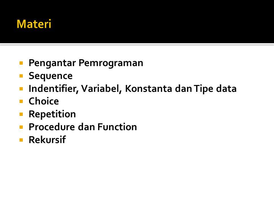  Pengantar Pemrograman  Sequence  Indentifier, Variabel, Konstanta dan Tipe data  Choice  Repetition  Procedure dan Function  Rekursif