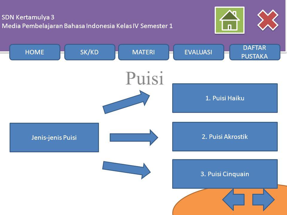 Puisi SDN Kertamulya 3 Media Pembelajaran Bahasa Indonesia Kelas IV Semester 1 SDN Kertamulya 3 Media Pembelajaran Bahasa Indonesia Kelas IV Semester
