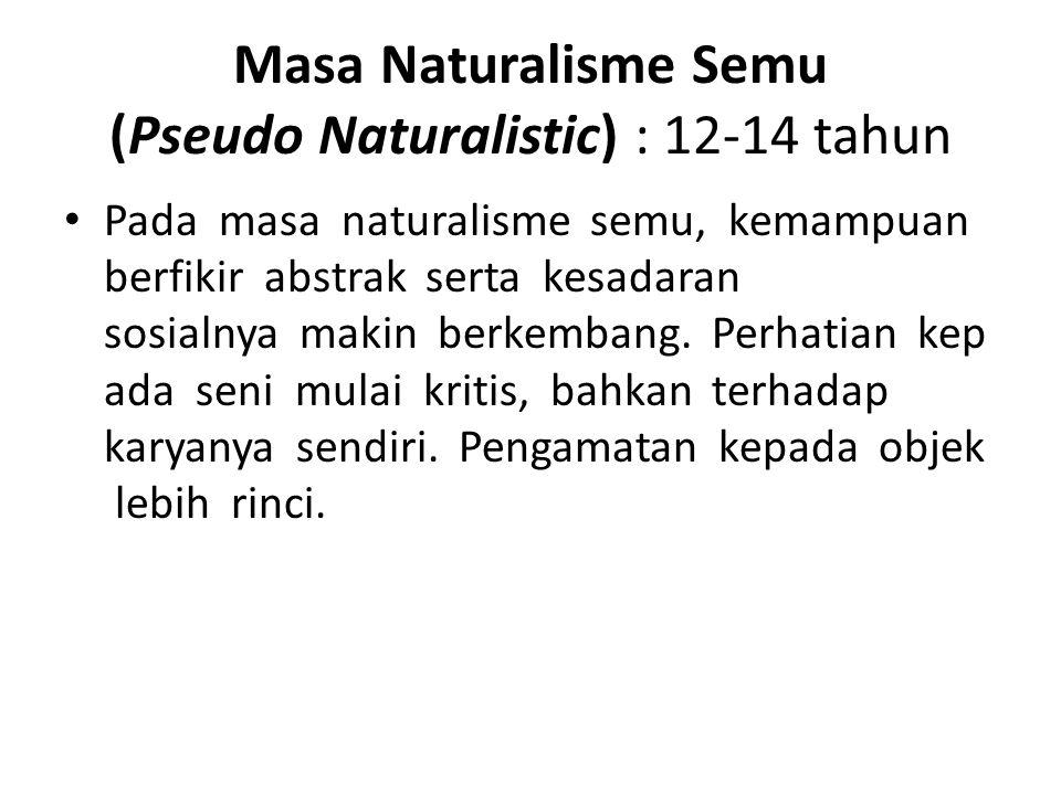 Masa Naturalisme Semu (Pseudo Naturalistic) : 12-14 tahun Pada masa naturalisme semu, kemampuan berfikir abstrak serta kesadaran sosialnya makin berke
