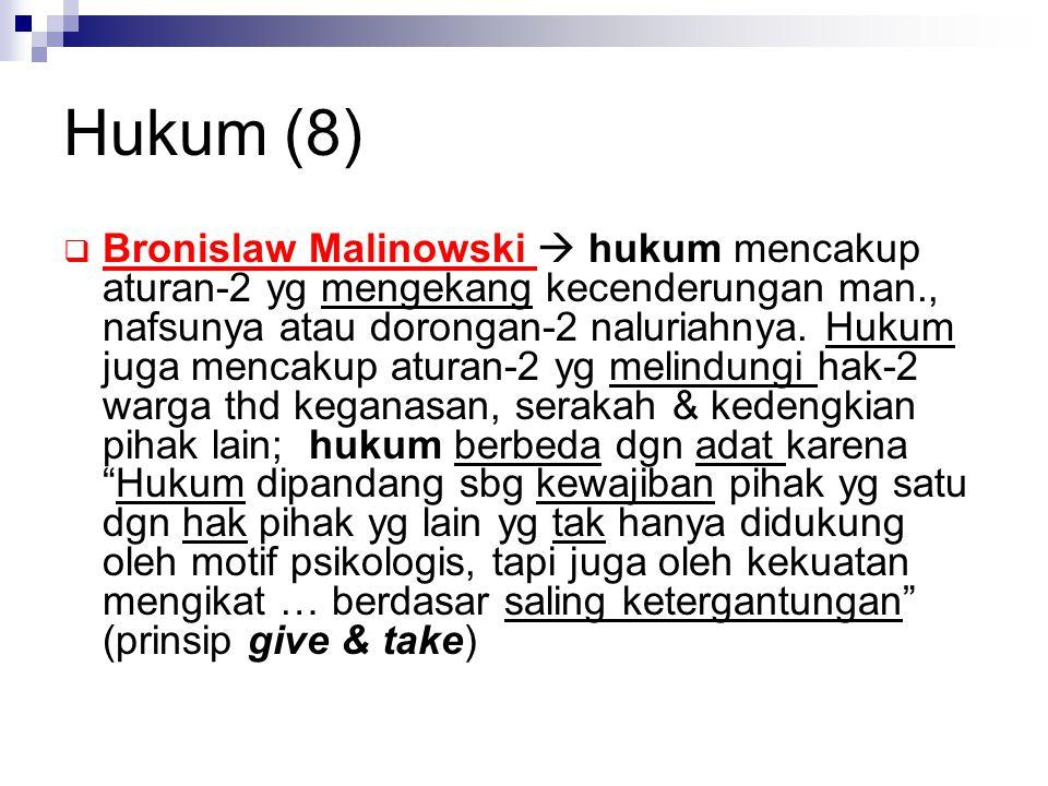 Hukum (8)  Bronislaw Malinowski  hukum mencakup aturan-2 yg mengekang kecenderungan man., nafsunya atau dorongan-2 naluriahnya. Hukum juga mencakup