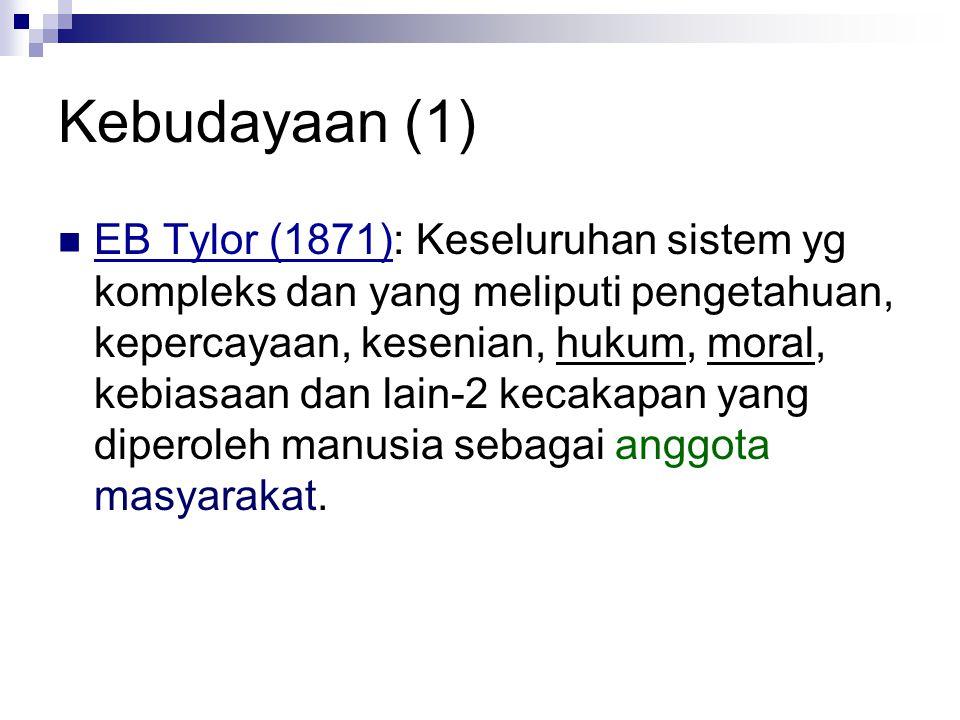 Kebudayaan (1) EB Tylor (1871): Keseluruhan sistem yg kompleks dan yang meliputi pengetahuan, kepercayaan, kesenian, hukum, moral, kebiasaan dan lain-